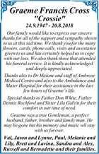 "Graeme Francis Cross ""Crossie"""