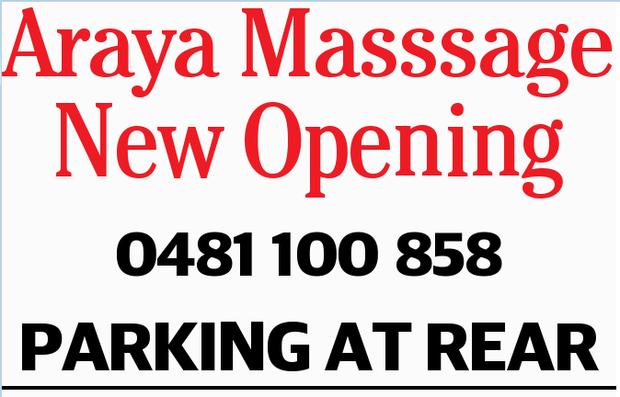 Araya Masssage New Opening 0481100858 PARKING AT REAR