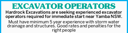 Hardrock Excavations are seeking experienced excavator operators required for immediate start nea...