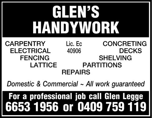 GLEN'S   HANDYWORK   CARPENTRY, CONCRETING,    ELECTRICAL, DECKS, FENCING, SHEL...