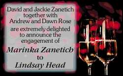 David and Jackie Zanetich together with Andrew and Dawn Rose are extremely delighted to announc...
