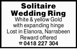 White & yellow Gold with expanding hinge Lost in Elanora, Narrabeen Reward offered 0418227304...