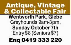 Wentworth Park, Glebe Greyhounds    9am-3pm.    Sunday October 7th    Entry $8 (Senio...