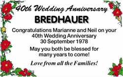 40th Wedding Anniversary BREDHAUER Congratulations Marianne and Neil on your 40th Wedding Anniver...
