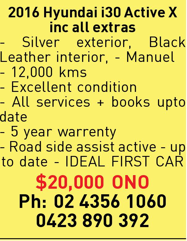 2016 Hyundai i30 Active X inc all extras - Silver exterior, Black Leather interior, - Manuel - 12...
