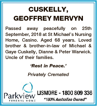 Obituaries, Funeral and Death Notices in Northern Rivers