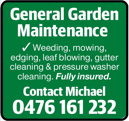 General Garden Maintenance    Weeding, mowing, edging, leaf blowing, gutter cleaning & pr...