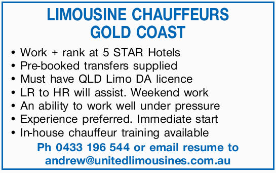 LIMOUSINE CHAUFFEURS WANTED Day and night shifts, weekend work. Work & rank 5 star hotels. Pr...