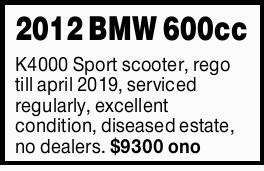 K4000 Sport scooter, rego till april 2019, serviced regularly, excellent condition, diseased esta...