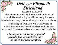 Dellwyn Elizabeth Strickland   9.3.1938-17.9.2018   The STRICKLAND and SWINDELLS FAMILY w...