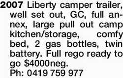 2007 Liberty camper trailer, well set out, GC, full annex, large pull out camp kitchen/storage, c...