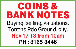 Buying, selling, valuations.   Torrens Pde Ground, city.   Nov 17-18 from 10am