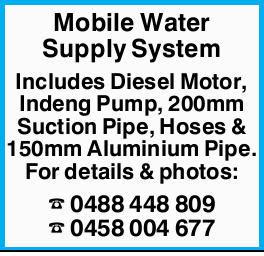 Includes Diesel Motor, Indeng Pump, 200mm Suction Pipe, Hoses & 150mm Aluminium Pipe.   F...