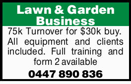 75k Turnover for $30k buy.   All equipment and clients included.   Full training and form...