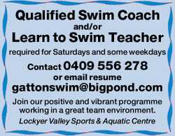 Qualified Swim Coach and/or Learn to Swim Teacher required for Saturdays and some weekdays Contac...
