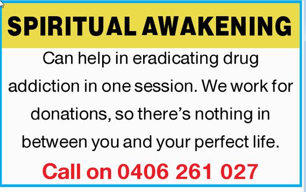 SPIRITUAL AWAKENING   Can help in eradicating drug addiction in one session.   We work fo...