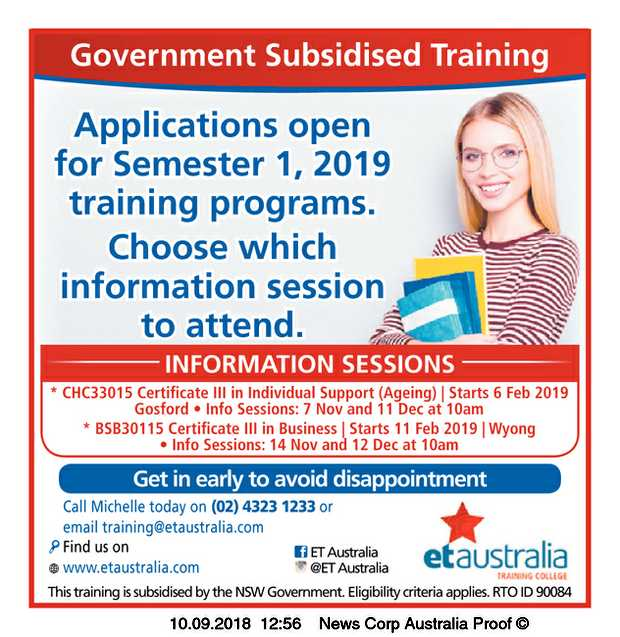 Applications open for Semester 1, 2019 training programs. Choose which information session to a...