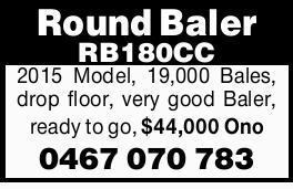 2015 Model   19,000 Bales, drop floor, very good Baler, ready to go