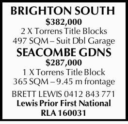 $382,000 2 X Torrens Title Blocks 497 SQM Suit Dbl Garage      SEACOMBE GDNS $287,0...