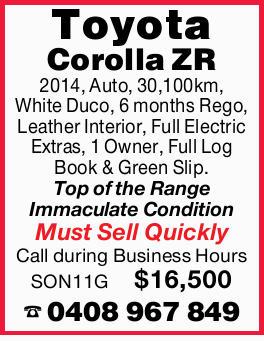 Toyota Corolla ZR 2014,   Auto, 30,100km, White Duco, 6 months Rego, Leather Interior, Full E...