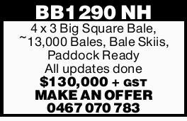 4 x 3 Big Square Bale,   ~13,000 Bales, Bale Skiis,   Paddock Ready   All updat...