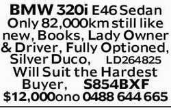 BMW 320i E46 Sedan   Only 82,000km still like new, Books, Lady Owner & Driver, Fully Opti...