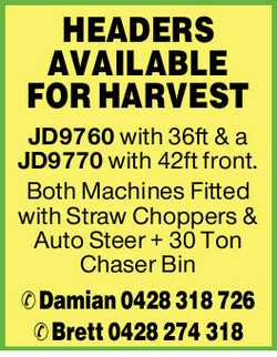 0JD9760 with 36ft & a JD9770 with 42ft front.   Both Machines Fitted with Straw Cho...