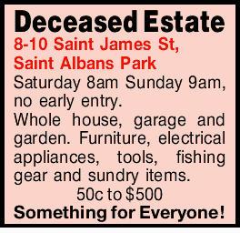 8-10 Saint James St, Saint Albans Park Saturday 8am Sunday 9am, no early entry. Whole house, gara...