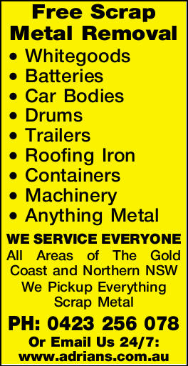 <p> Whitegoods Batteries Car Bodies Drums Trailers Roofing Iron Containers Machinery Anything Metal...
