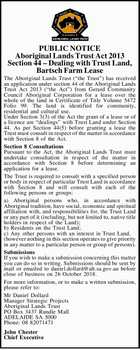 PUBLIC NOTICE Aboriginal Lands Trust Act 2013 Section 44 Dealing with Trust Land, Bartsch Farm Lease