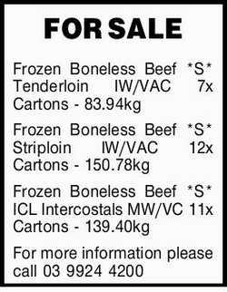 FOR SALEFrozen Boneless Beef *S* Tenderloin IW/VAC 7x Cartons - 83.94kg Frozen Boneless Beef *S*...