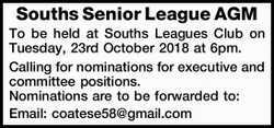 Souths Senior League AGM   To be held at Souths Leagues Club on Tuesday, 23rd October 2018 at...