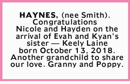 HAYNES, (nee Smith).   Congratulations Nicole and Hayden   on the arrival of Evah and Kya...