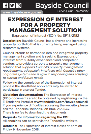 Expression of interest for a property Management solution 