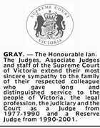 GRAY, The Honourable Ian