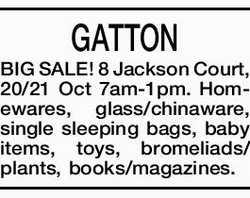 GATTON - BIG SALE! 8 Jackson Court, 20/21 Oct 7am-1pm. Homewares, glass/chinaware, single sleepin...
