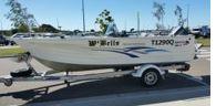 QUINTREX TOP ENDER   5.10 SC 90HP 2 stroke Yamaha Motor,   alloy trailer, canopy, 7 inch...