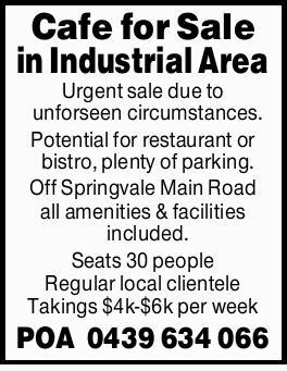 Urgent sale due to unforseen circumstances.   Potential for restaurant or bistro, plenty of p...