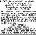 PICCOLO (Migliardi). - Maria.
