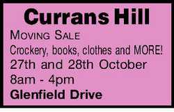 Crockery, books, clothes and MORE! 27th and 28th October 8am - 4pm Glenfield Drive