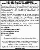 SCHOOL CANTEEN LICENCE NORTH KELLYVILLE PUBLIC SCHOOL Tenders