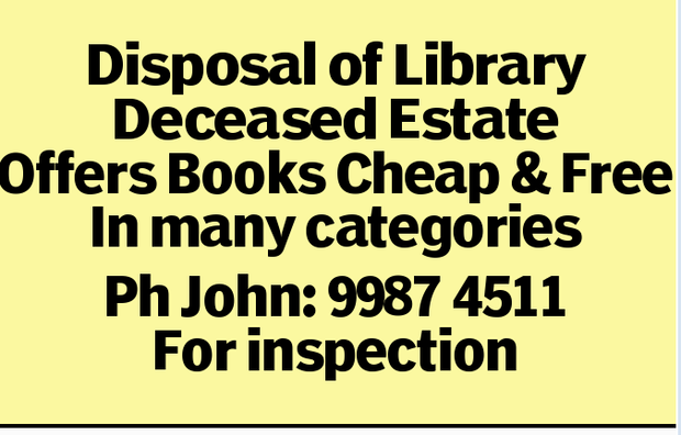 Disposal of Library Deceased Estate Offers Books Cheap & Free In many categories Ph John: 998...