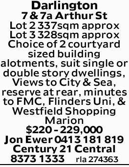 Darlington   7 & 7a Arthur St   Lot 2 337sqm approx   Lot 3 328sqm approx   C...