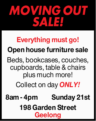 Everything must go!   Open house furniture sale   Beds, bookcases, couches, cupboar...