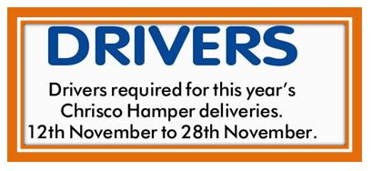 Drivers required for this year's Chrisco Hamper deliveries. 12th November to 28th November. ...