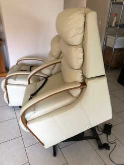 Two matching cream full leather & Bentwood arm La-Z-Boy Power Recline & Lift Chairs. Price is for ea...