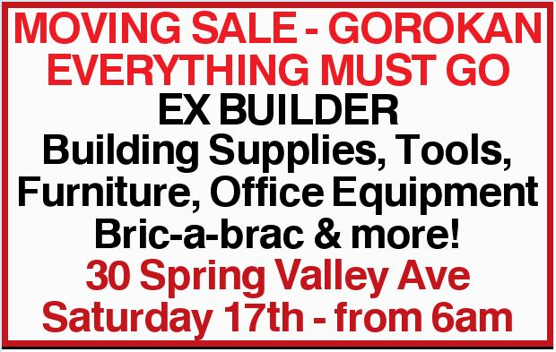 Building Supplies, Tools, Furniture, Office Equipment Bric-a-brac & more!
