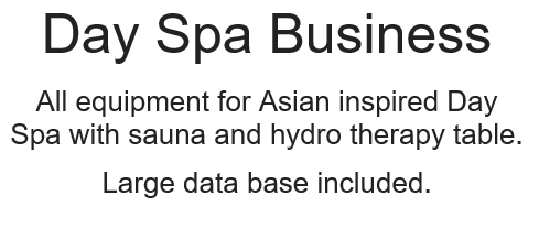 All equipment for asian inspired day spa with sauna and hydro therapy table.