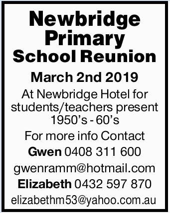 Newbridge Primary School Reunion   March 2nd 2019   At Newbridge Hotel for students/teach...