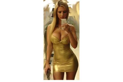 caucasian ethnicity  slim body  nat DD bust  long blonde hair  touring 12...